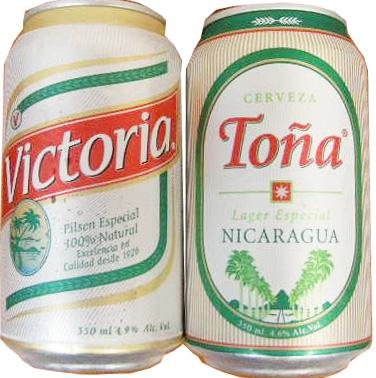 ニカラグアのビール「ビクトリア」(Victoria)と「トーニャ」(Toña)